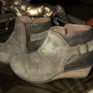 Dansko Shirley Taupe Suede Leather Wedge Heel